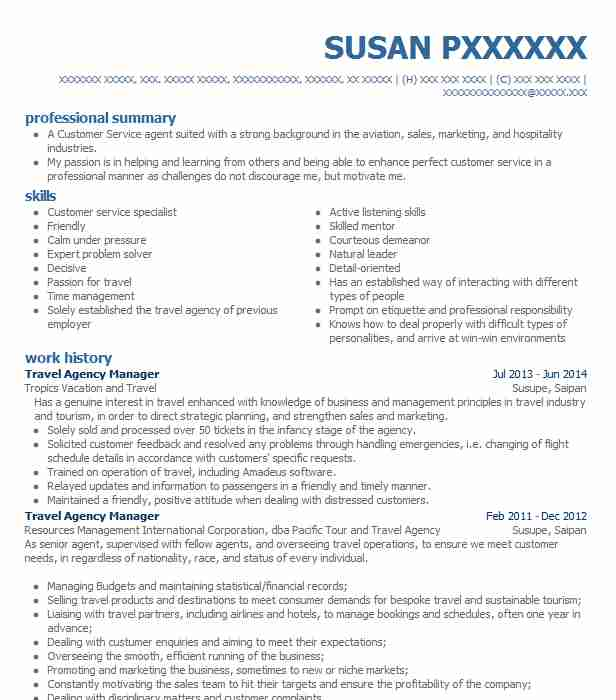 travel agency manager resume sample