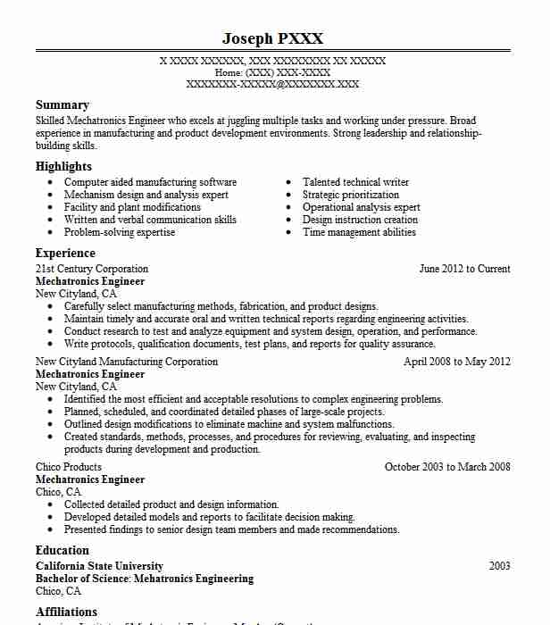 mechatronics engineer resume sample