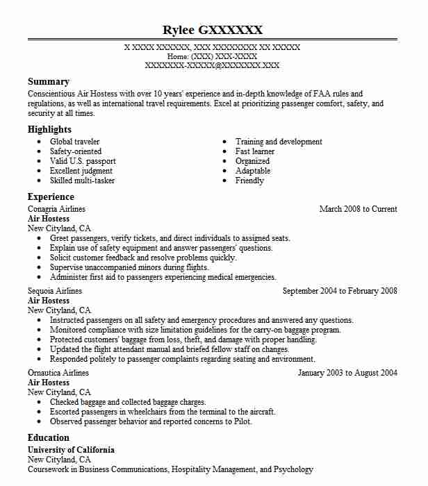 good air hostess resume template