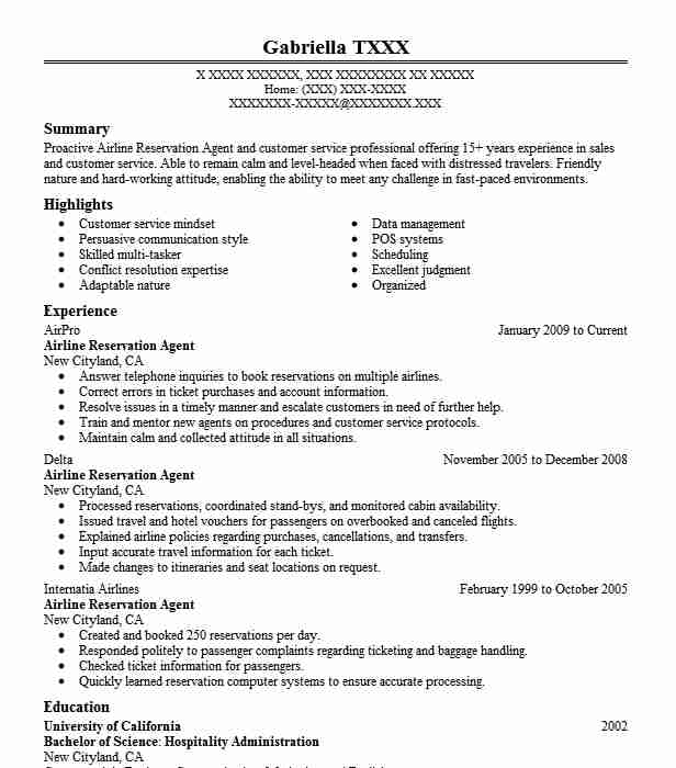 airline reservation agent resume sample