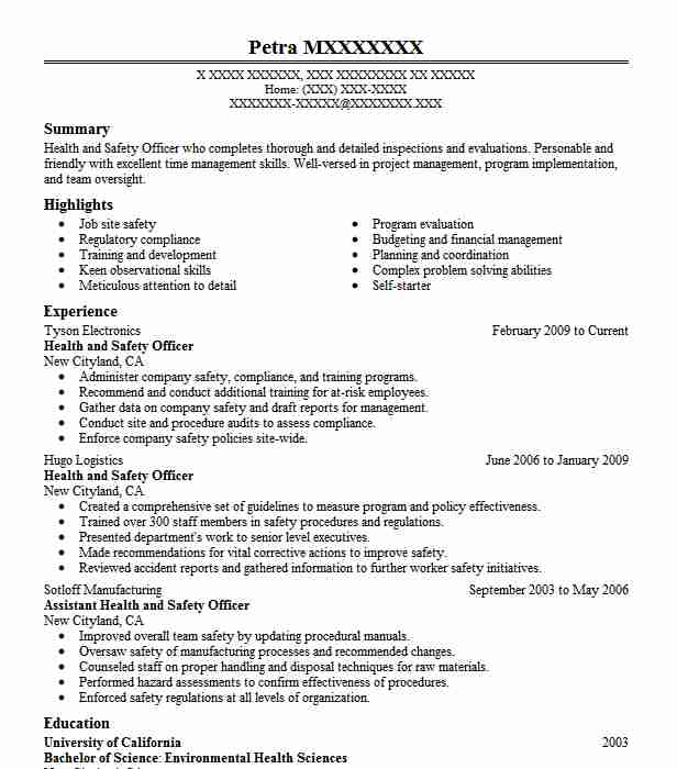 health and safety officer resume sample