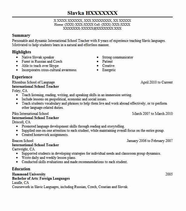 international school teacher resume sample