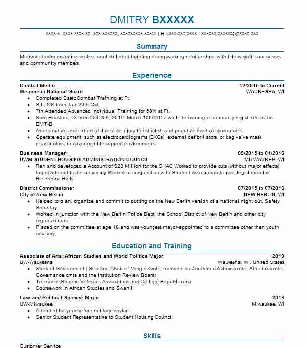 Tsm Administration Resume Sample | Administration Resumes | LiveCareer