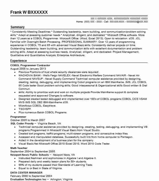 cobol programmer resume example first niagara bank key
