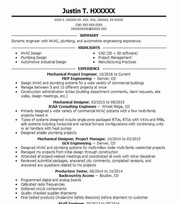 mechanical project engineer resume sample