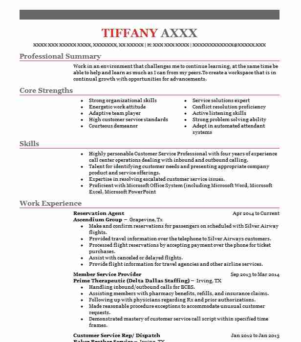 reservation agent resume sample