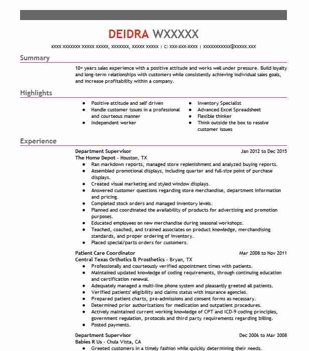 department supervisor resume sample