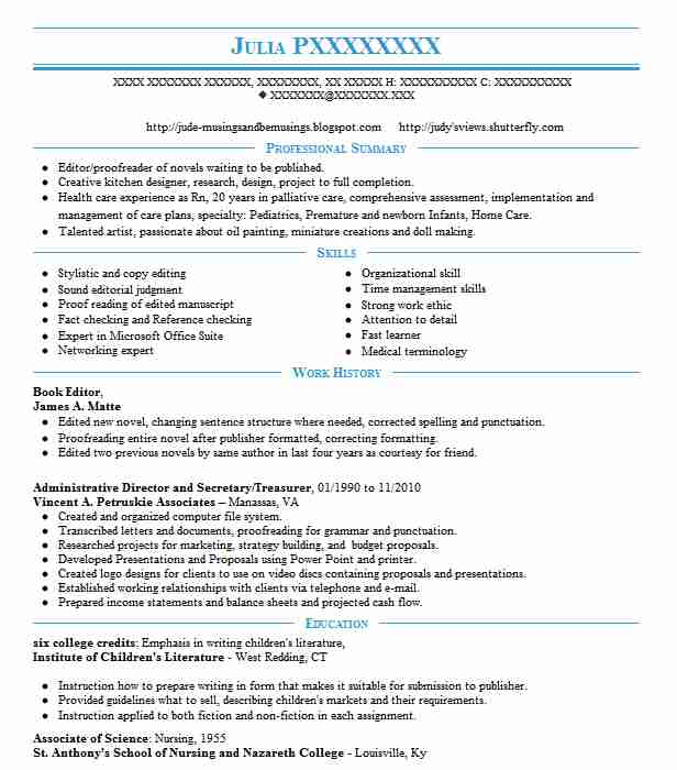 book editor resume sample