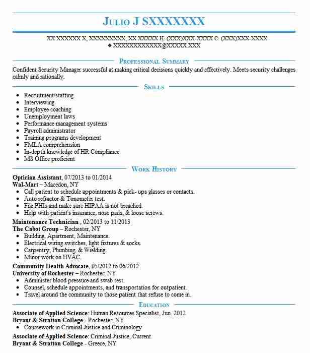 Optician Assistant Resume Sample