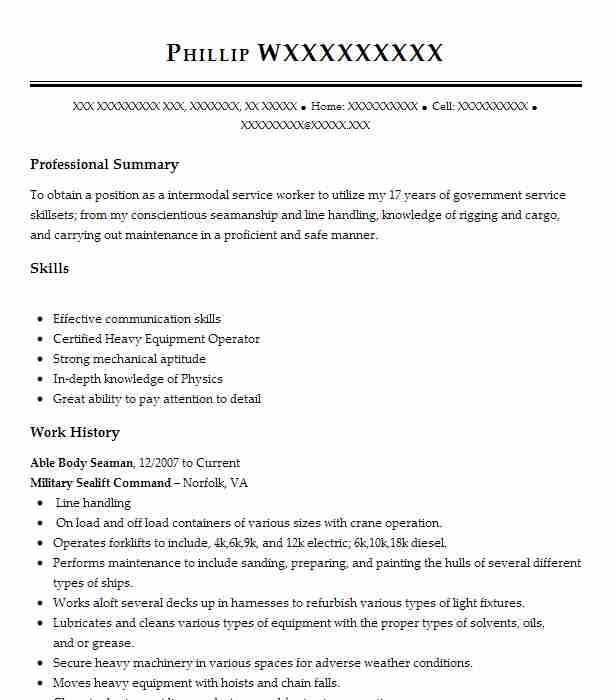 Able Body Seaman Resume Example United Philippines Line Inc