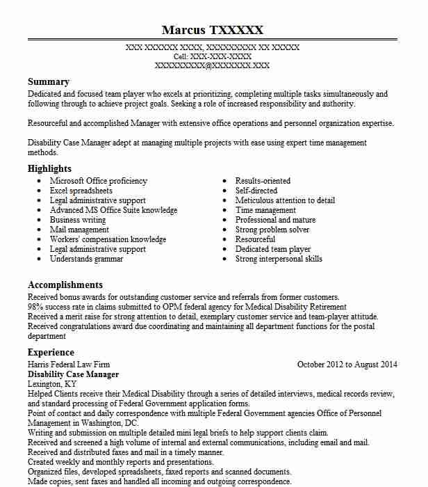 disability case manager resume sample