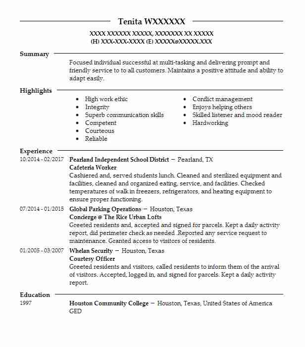 School cafeteria worker sample resume