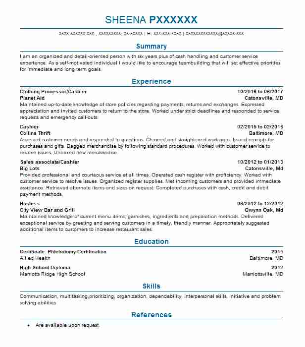 High Quality Clothing Processor/Cashier Inside Mover Resume