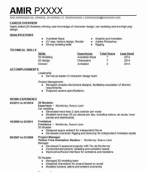 3d Modeler Resume Objectives Resume Sample Livecareer