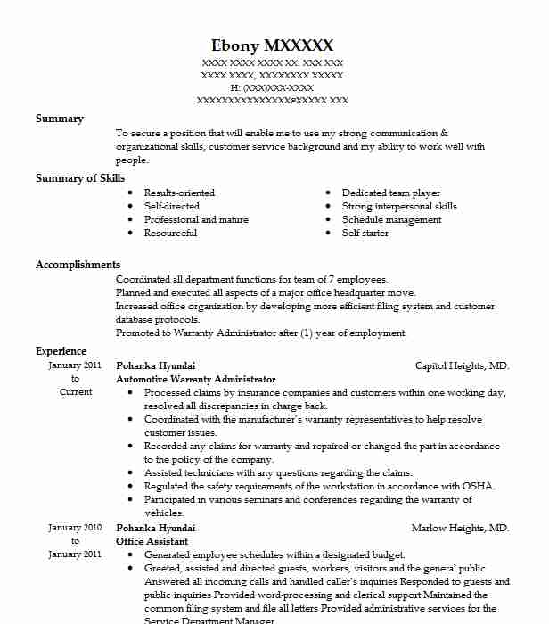 Automotive Warranty Administrator Resume Sample | LiveCareer