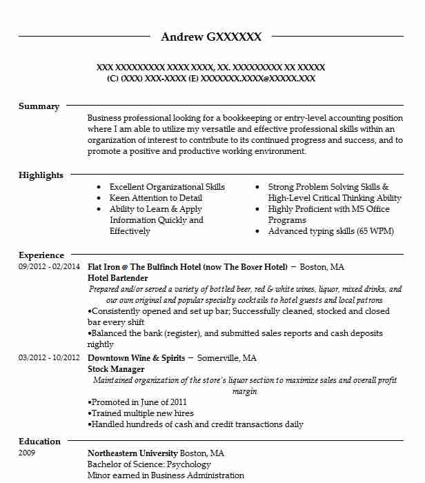 entry level bartending jobs hotel bartender resume sample bartender resumes livecareer 7932