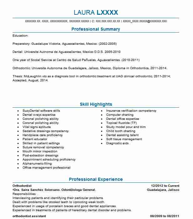 Orthodontist Resume Sample Dental Resumes Livecareer