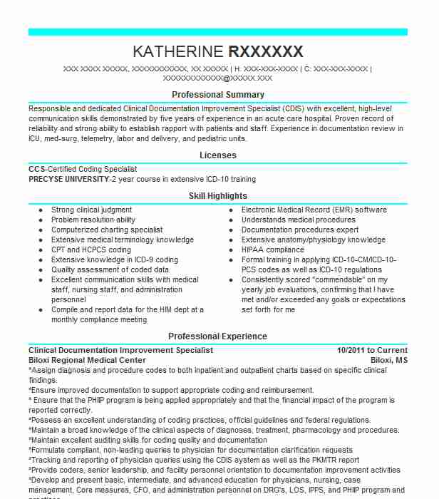 clinical documentation improvement specialist resume