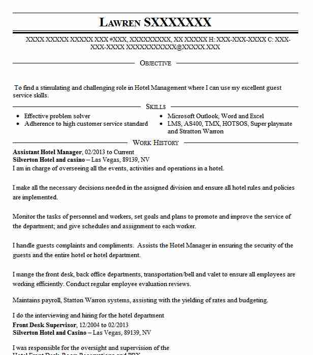 Assistant Hotel Manager Resume Sample Manager Resumes Livecareer
