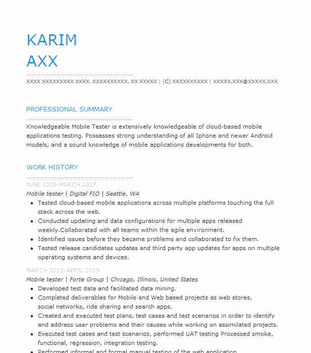 Agile Qa Tester Resume Sample: Mobile Tester Resume Sample