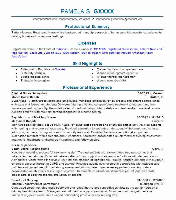 clinical nurse supervisor resume sample