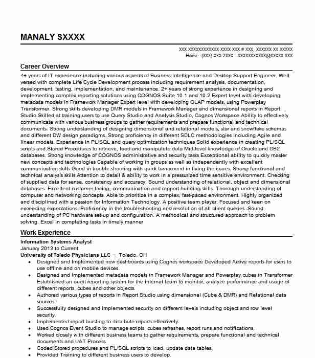 information systems analyst resume sample