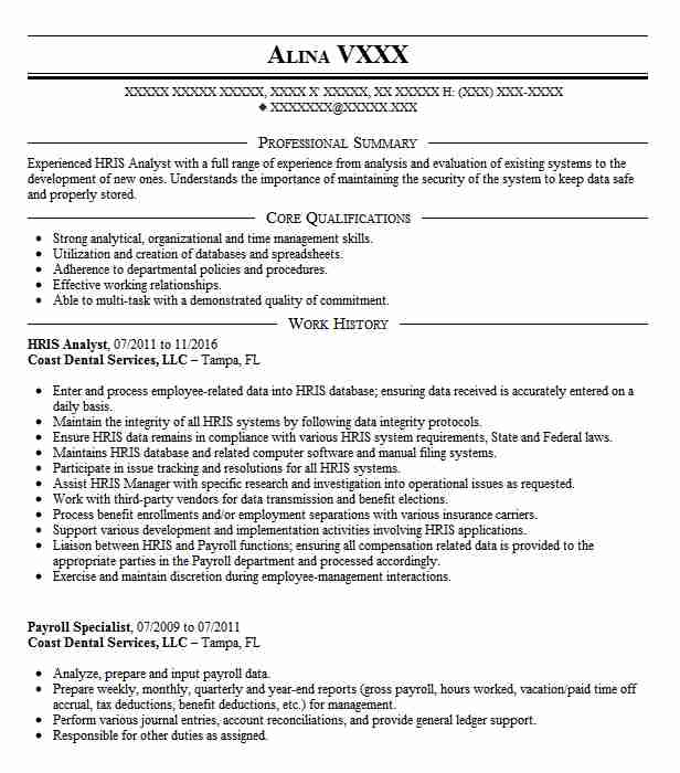 hris analyst resume sample