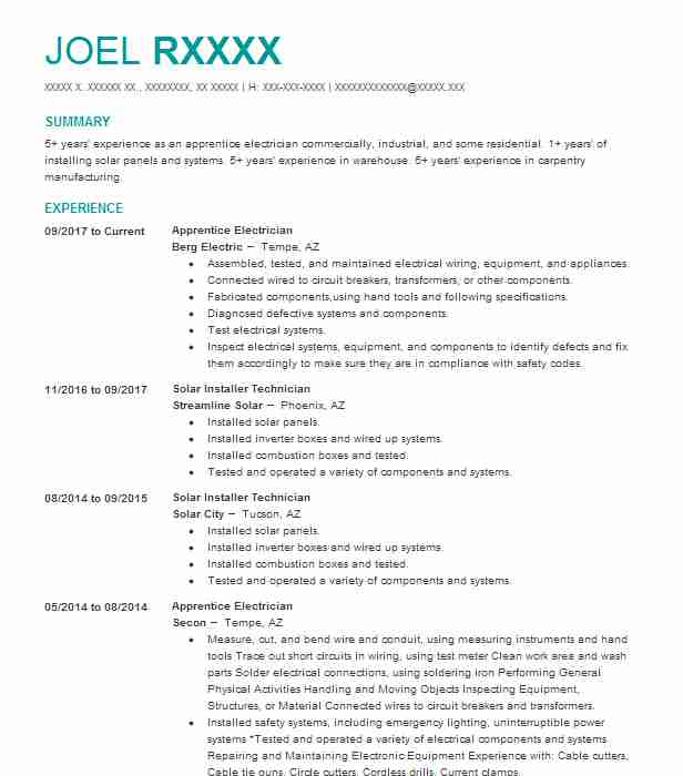 best apprentice electrician resume example
