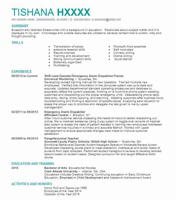 5 playwrights and screenwriters resume examples in georgia