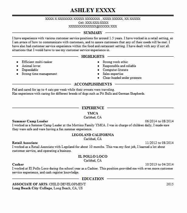 Summer Camp Leader Resume Sample | Leader Resumes | LiveCareer