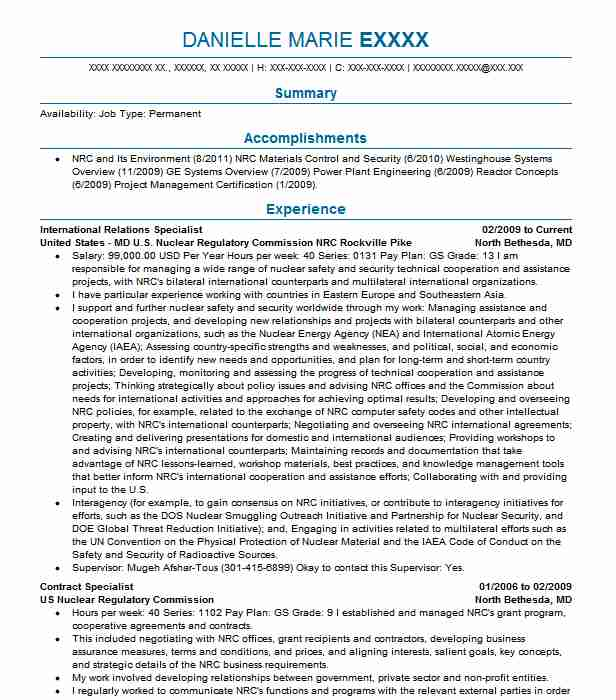 Cover Letter For Communications Specialist: International Relations Specialist Resume Sample