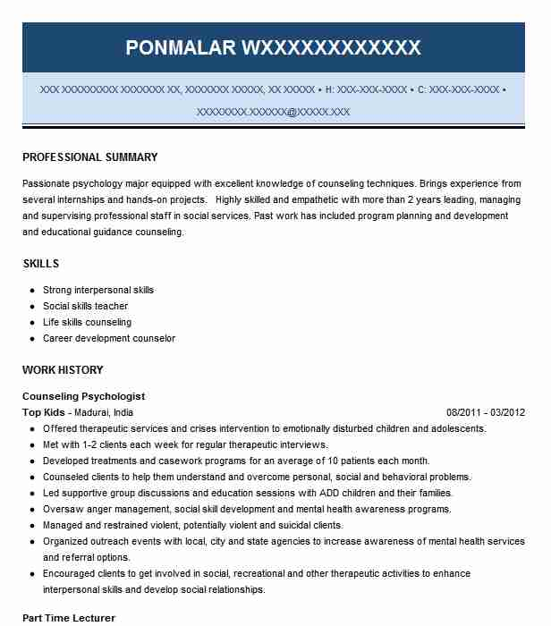 Counseling Psychologist Resume Sample | LiveCareer