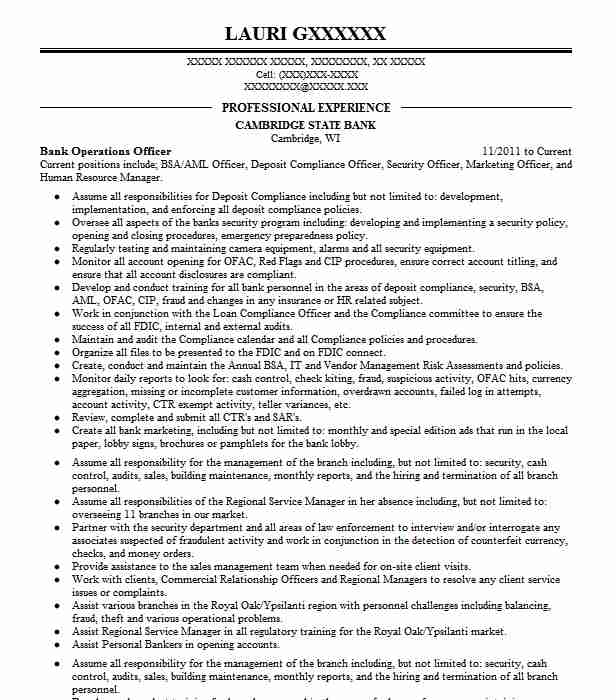 bank operations officer resume sample