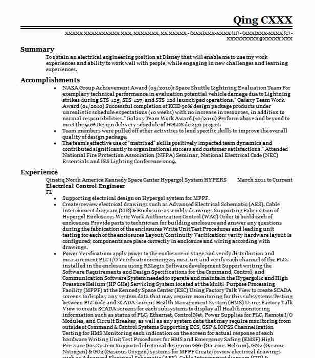 electrical control engineer resume sample