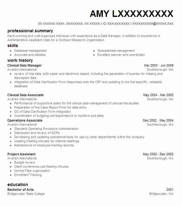 clinical data manager resume sample
