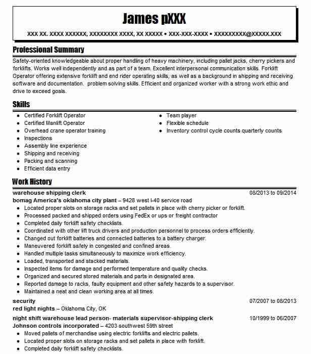 warehouse shipping clerk resume sample