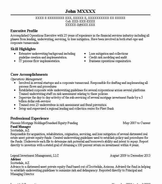 Fund Manager Resume Sample Finance Resumes Livecareer