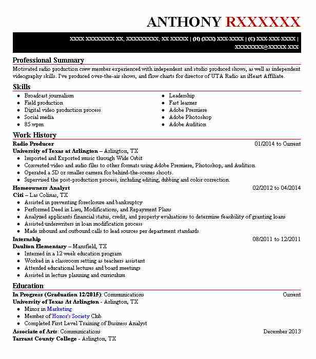 radio producer resume sample