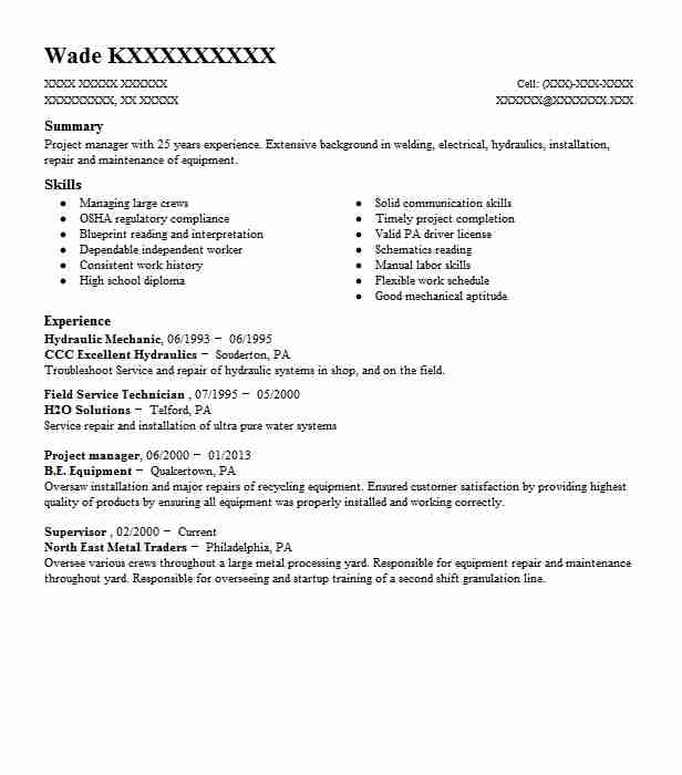 hydraulic mechanic resume sample