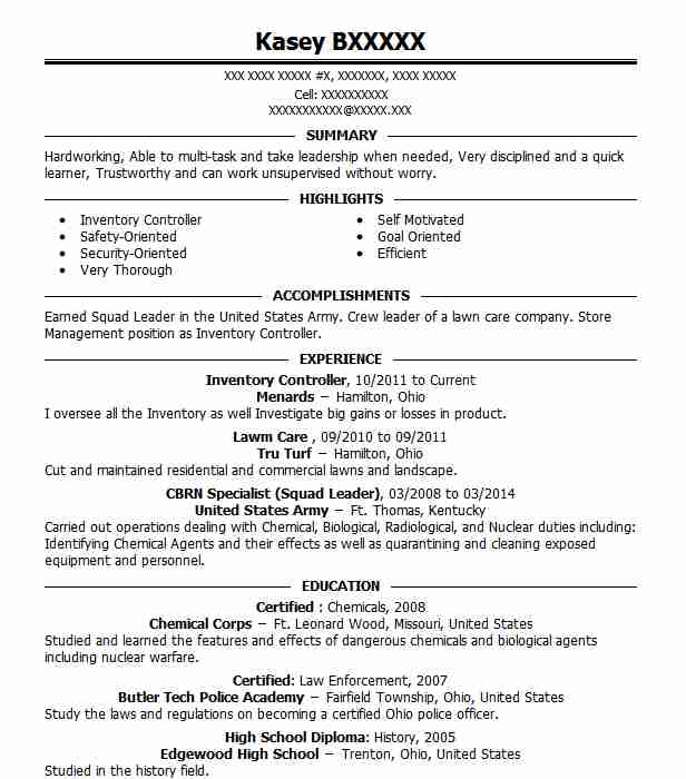 Inventory Controller Resume Sample