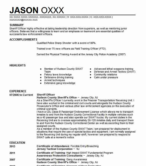 sheriff officer resume sample