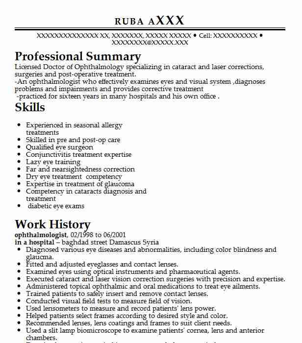 ophthalmologist cv sample january 2021