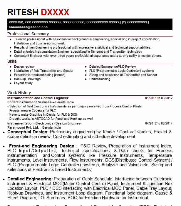 Instrumentation And Control Engineer Resume Sample Livecareer