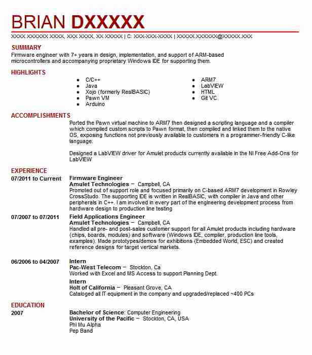firmware engineer resume sample