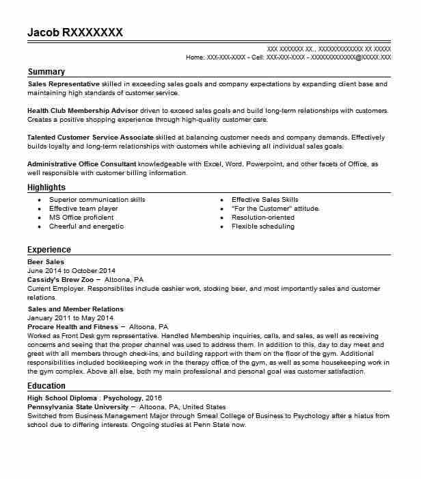 beer sales resume sample