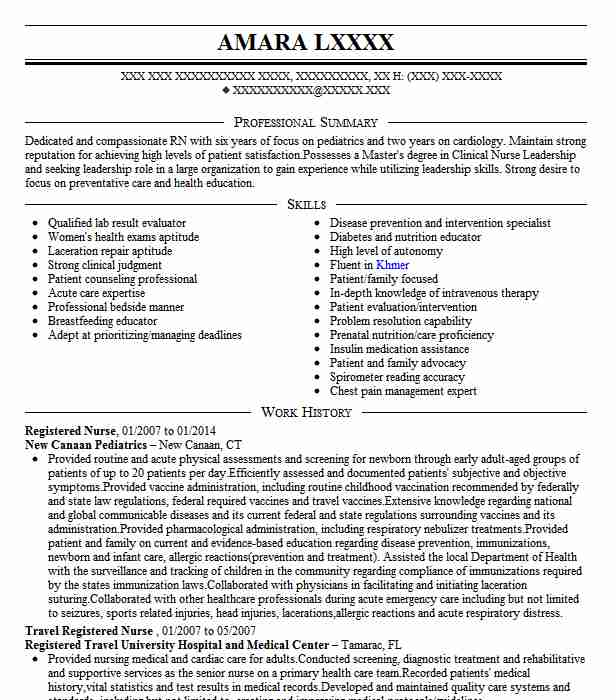 best registered nurse resume example livecareer - Examples Of Resumes For Nurses