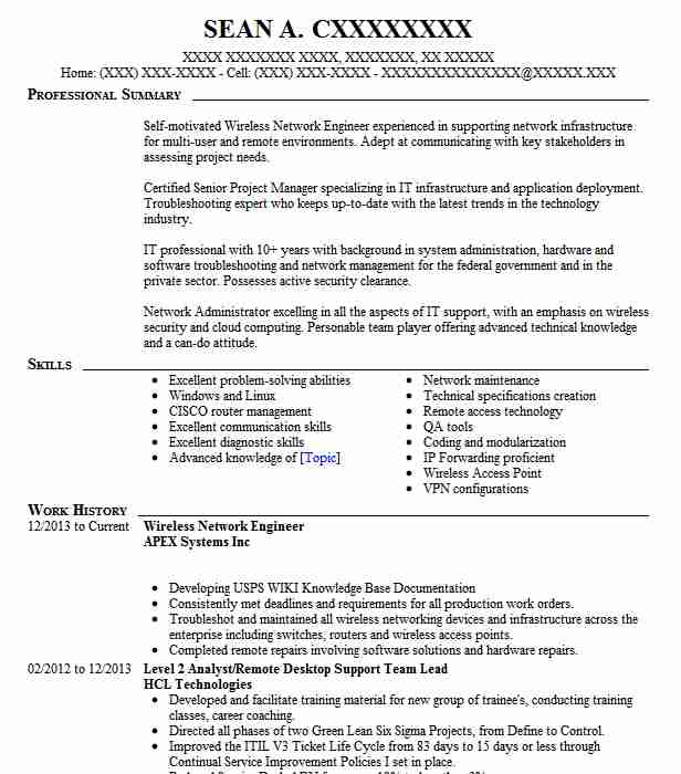 Wireless Engineer Sample Resume