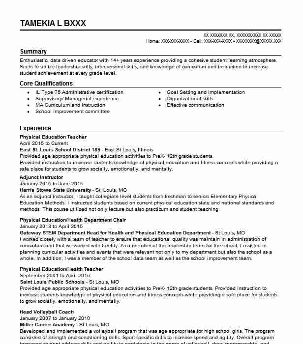 physical education teacher resume sample