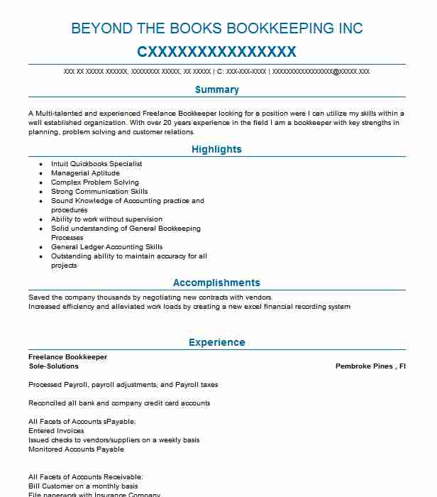 Freelance Bookkeeper Resume Sample Bookkeeper Resumes Livecareer