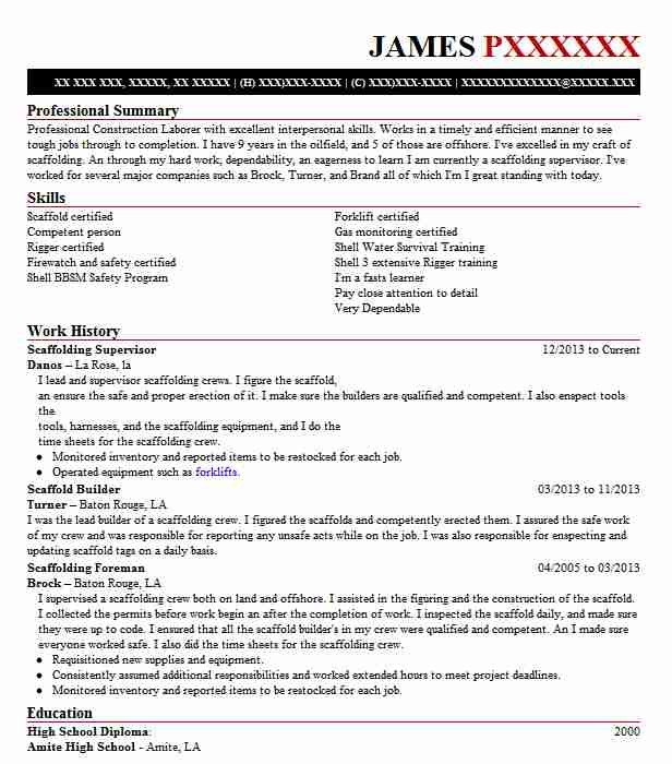 scaffolding supervisor resume example brock services